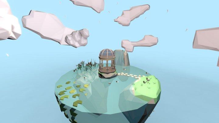 Low Poly Circle Island 3D Model