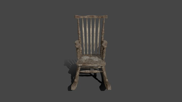 Wooden Rocking Chair 3D Model