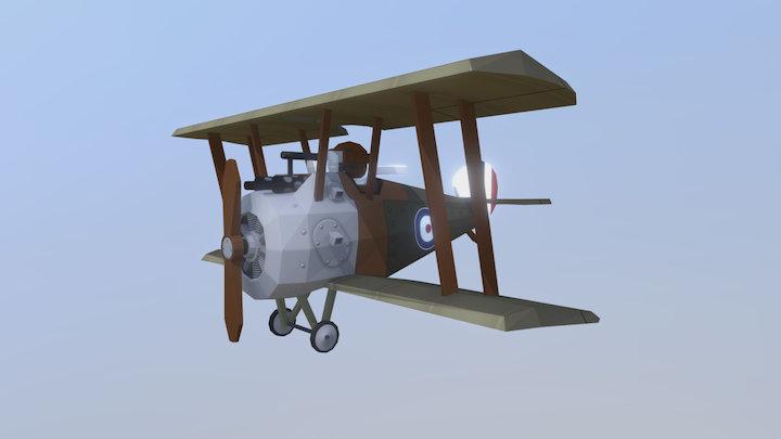 Stylized Sopwith Camel WW1 plane 3D Model