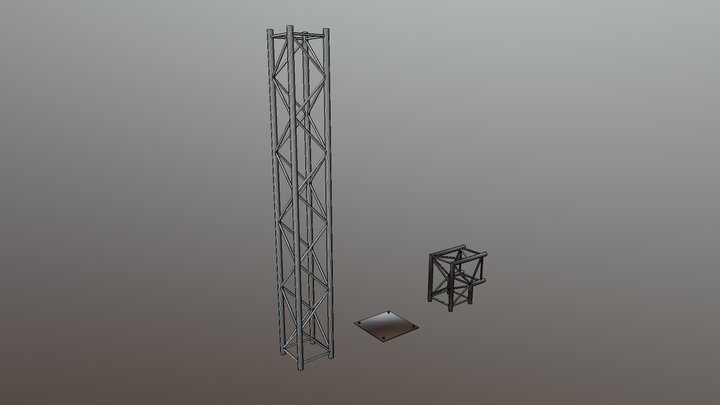 Square aluminium truss systems. 3D Model