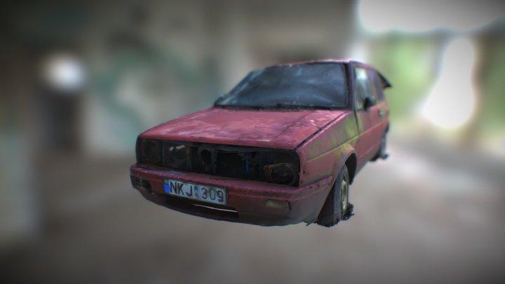 Wrecked Golf Mk II Spring Edition 3D Model
