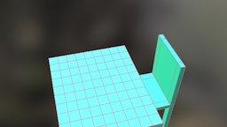 Meja Kursi Hijau 3D Model