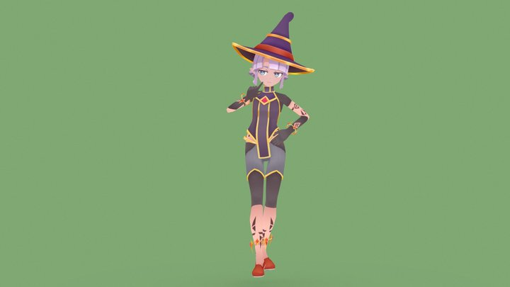 Toon Witch 3D Model