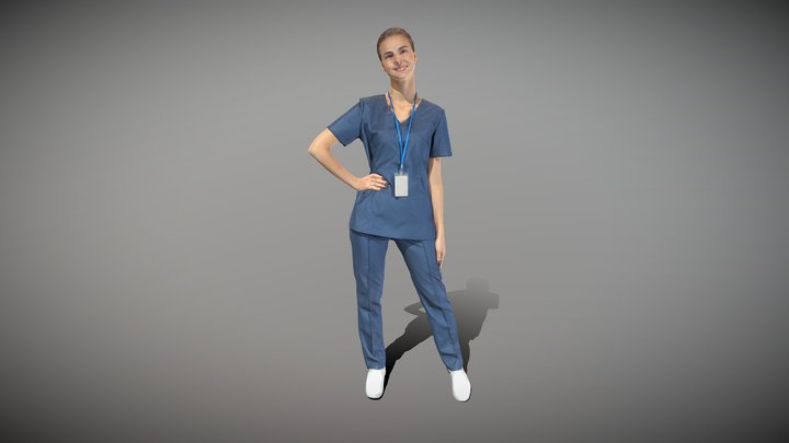 Young surgical nurse smiling 104 3D Model