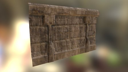 Old Temple Wall 3D Model