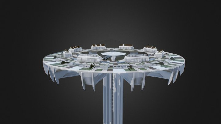 Futuristic cities   Cloud City Concept 3D Model