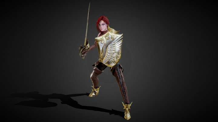 Sword and Shield Warrior 3D Model