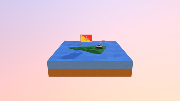 Low poly Sicily diorama 3D Model