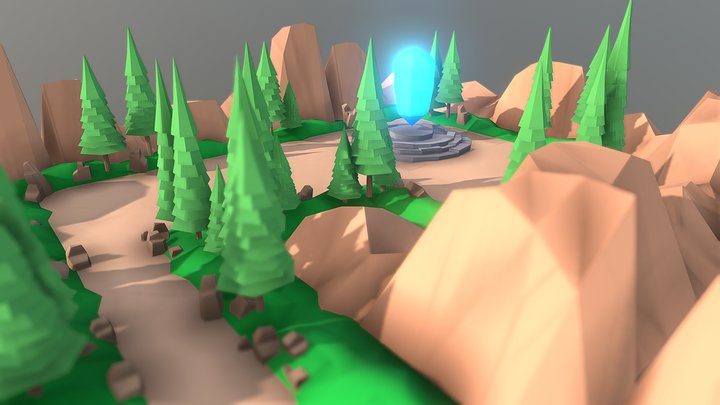 Game Level Scene Low Poly 3D Model