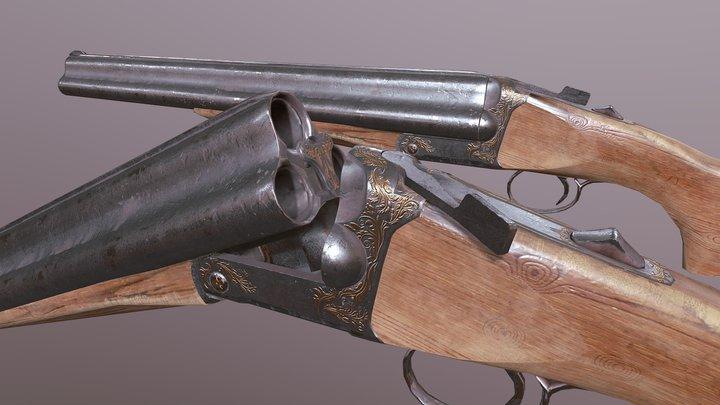 Triple barrel shotgun 4K textures 3D Model