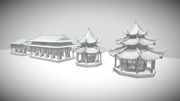 Chinese Ancient Wooden Buildings 3D Model