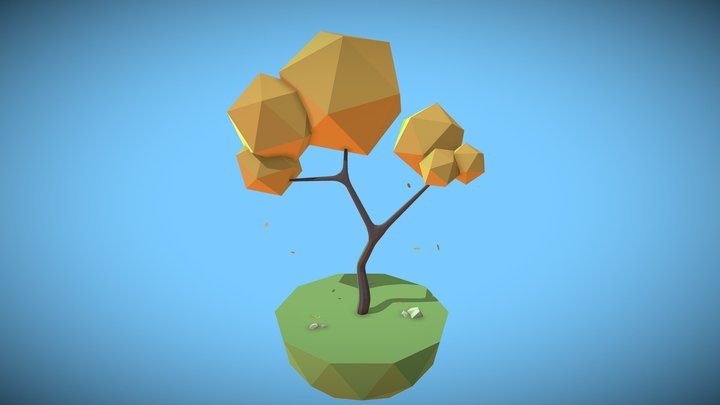 Low Poly Early Autumn Tree 3D Model