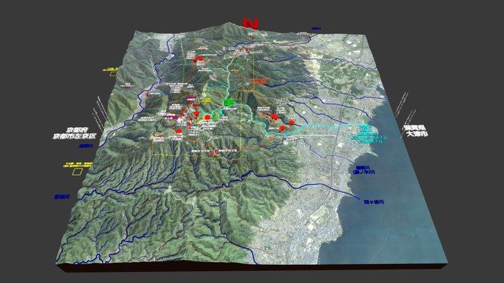 比叡山延暦寺の広域地図(3D地図) 3D Model