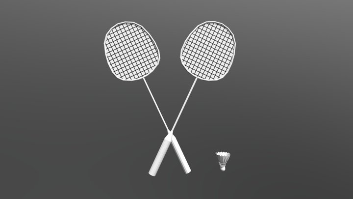 Badminton Racket And Shuttlecock (Low Poly) 3D Model