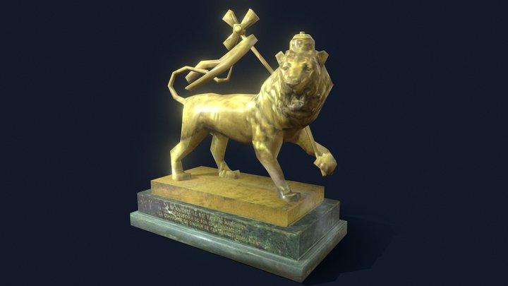 3D Gold Lion Statue 3D Model