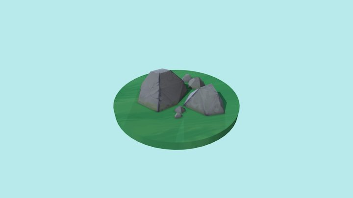 Low poly stones 3D Model