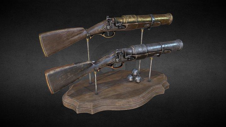 Flintlock Hand-Cannon (two skins) 3D Model