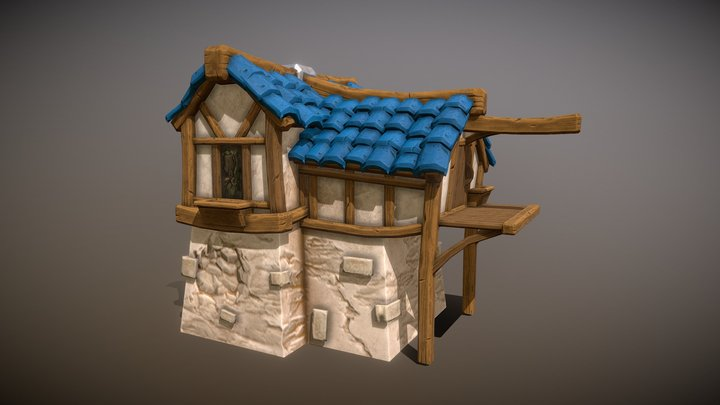 PBR Stylized Tall House 3D Model