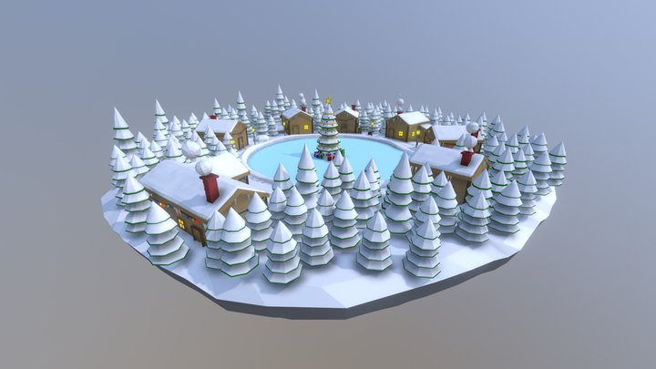 Christmas Low-poly Scene 3D Model