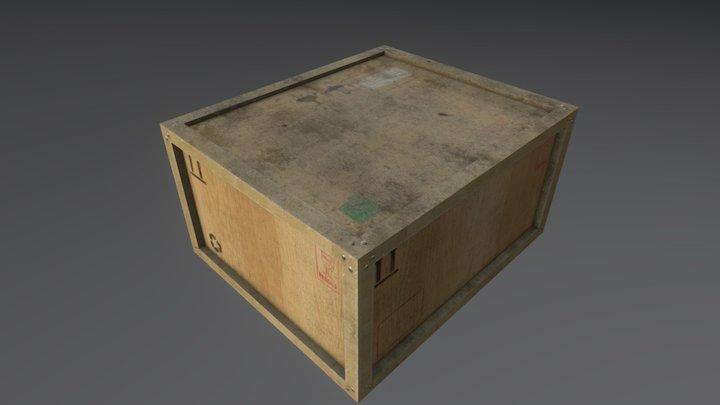 Wooden cargo crate 7 3D Model