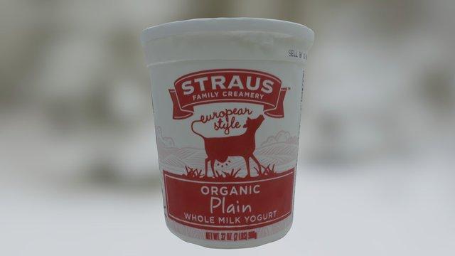 Straus Plain Whole Milk Yogurt 3D Model