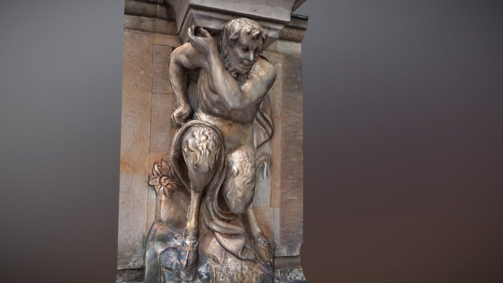 Baroque faun sculpture on a wall 3D Model