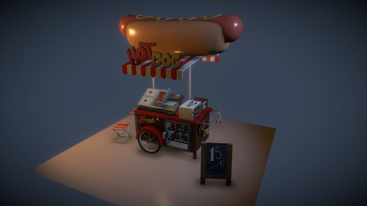 The street hotdog 3D Model