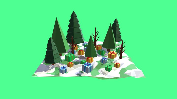 Trees, Snow and Many Gifts 3D Model