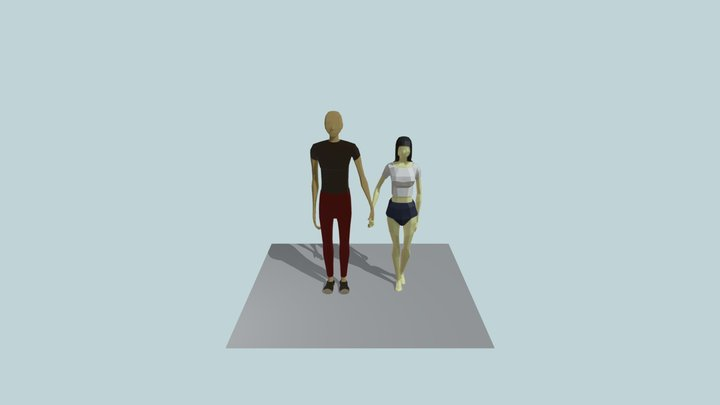 Low poly characters 3D Model
