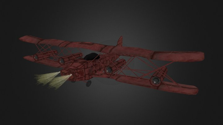 Low Tech Medium Plane 3D Model