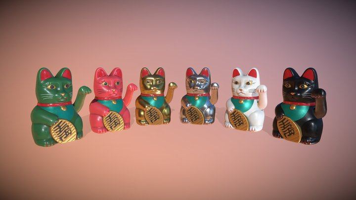 Maneki-neko - LowPolygon LuckyCat animated 3D Model