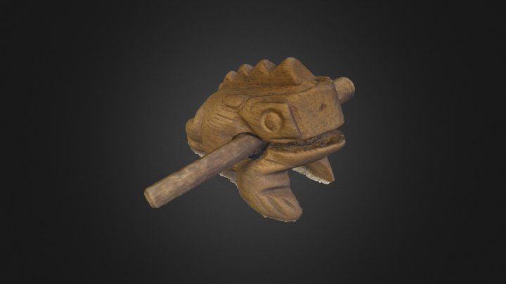 Antique Guiro Frog #3DST8 3D Model