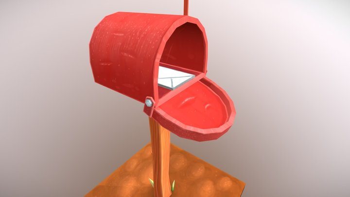 Lowpoly Mailbox, Hand-painted Textures 3D Model