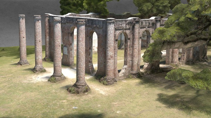 American Ruins: Old Sheldon Church 3D Model