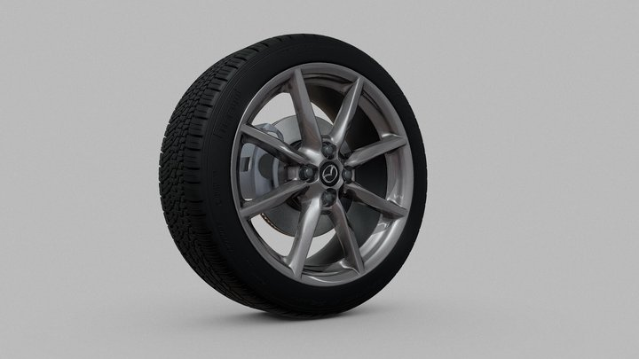 Mazda Miata MX-5 Rim & Pirelli P Zero Tire 3D Model
