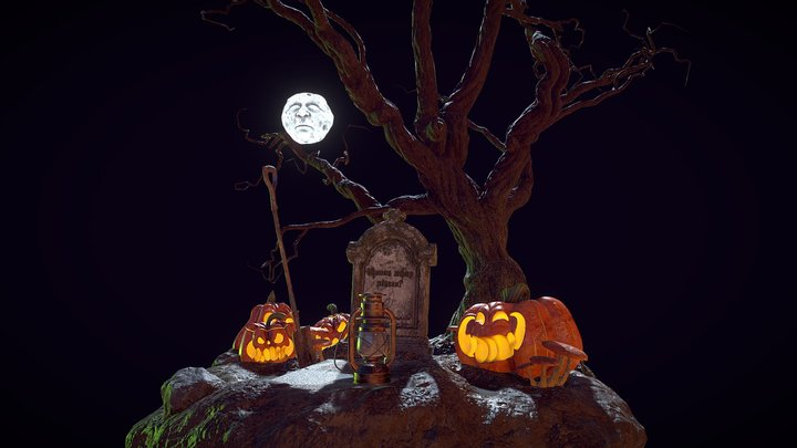 Lonely Halloween grave 3D Model