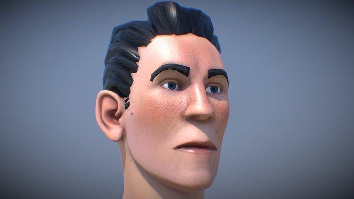 Stylized PBR Man Character Head 3D Model