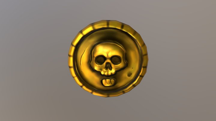 Low-Poly Gold Coin 3D Model