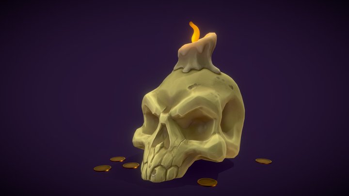 Halloween Skull Candle 3D Model