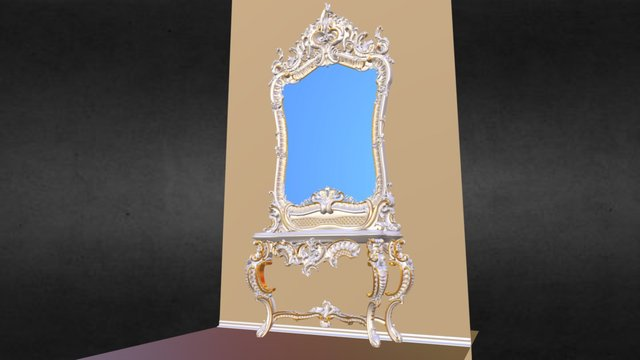 1D Baroque Mirror Table 3D Model