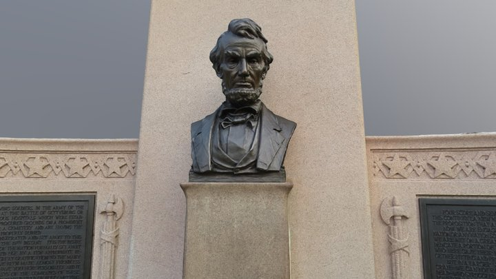 Lincoln Statue at Gettysburg 3D Model