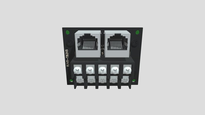 コネクタ端子台変換ユニット(RJ-45×2⇔端子台):DINレール取付け 3D Model