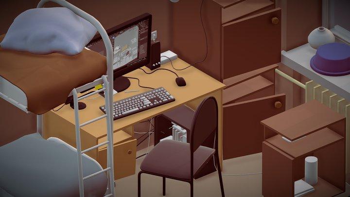 Dormitory cutaway 3D Model