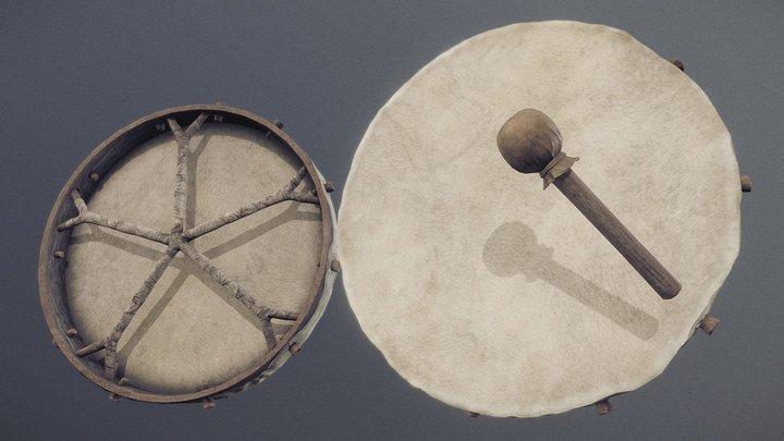 Nordic Shaman Drum - PBR 3D Model