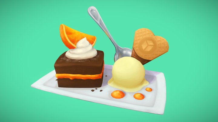 #FoodChallenge - ChocolateOrangeCake & IceCream 3D Model