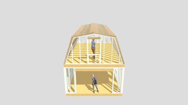 16x24 Barn Plans 3D Model