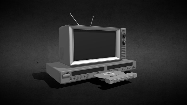 Vintage DVD and TV 3D Model