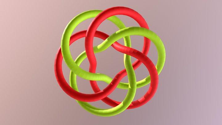 Two trefoils on a torus 3D Model