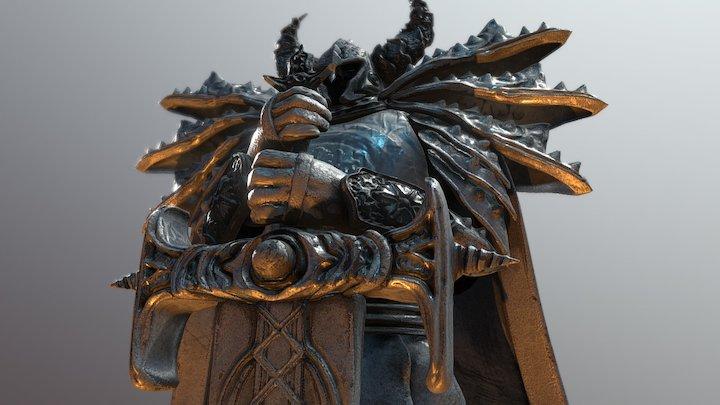 Hero & Demon King - Knight statue 3D Model