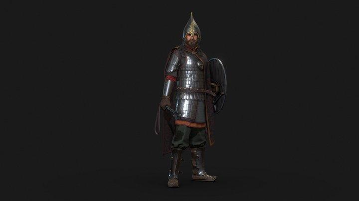 XIV Century Rus Noble Warrior 3D Model